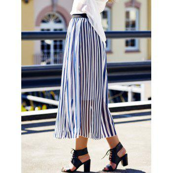 Women's Stylish High Waist Vertical Striped Skirt - CADETBLUE ONE SIZE