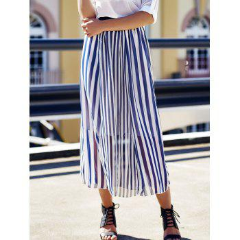 Women's Stylish High Waist Vertical Striped Skirt - ONE SIZE ONE SIZE