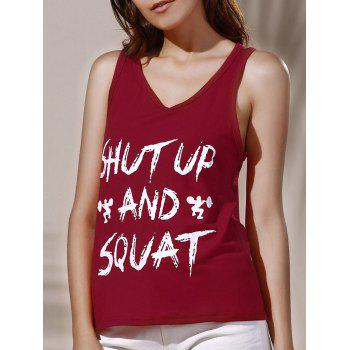 Casual Letter Print Women's Loose Tank Top