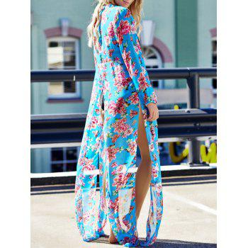 Sexy Long Sleeve Plunging Neck Floral Print Women's Cover-Up