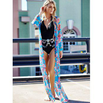 Sexy Long Sleeve Plunging Neck Floral Print Women's Cover-Up - BLUE BLUE