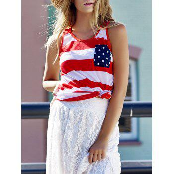Stylish Scoop Neck Sleeveless Bowknot Embellished Striped Women's Tank Top