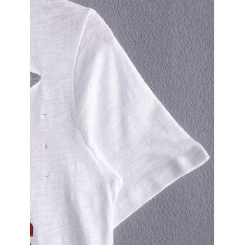 Casual Round Neck Short Sleeve Letter Print Women's T-Shirt - WHITE ONE SIZE(FIT SIZE XS TO M)