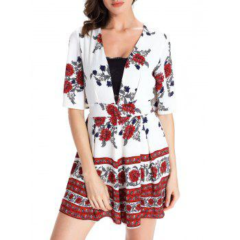 Sweet Floral Print Short Sleeve Plunging Neck Women's Romper - WHITE 2XL