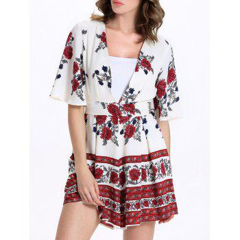 Sweet Floral Print Short Sleeve Plunging Neck Women's Romper