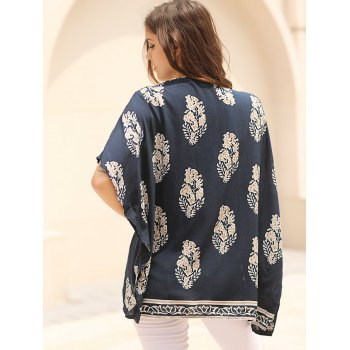 Fashionable Floral Print 3/4 Sleeve Women's Kimono Cardigan - BLUE BLUE