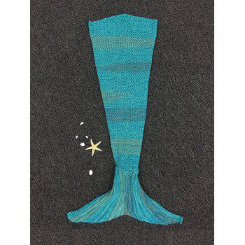 Stylish Stripe Knitted Mermaid Tail Design Blanket For Kids -  COLORMIX