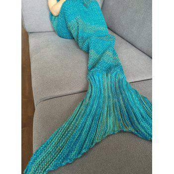Stylish Stripe Knitted Mermaid Tail Design Blanket For Kids - COLORMIX COLORMIX