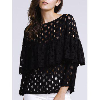 Trendy Hollow Out Laced Jewel Neck Blouse For Women