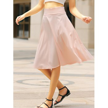 Elegant Solid Color High-Waisted Women's Skirt