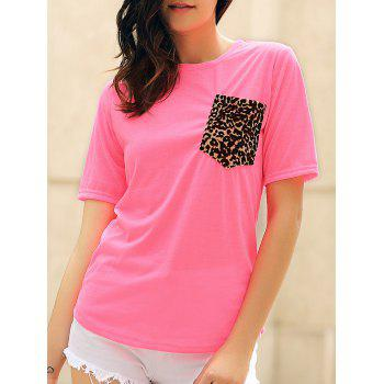 Stylish Short Sleeve Round Neck Leopard Print Women's T-Shirt