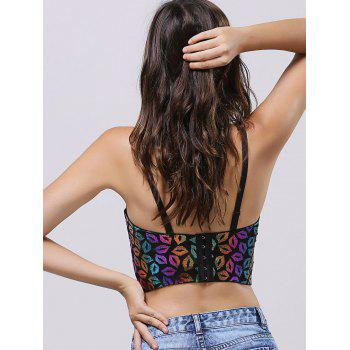 Spaghetti Strap Lip Crop Top - PURPLE M