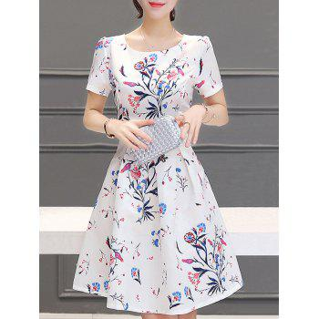 Stunning Women's Jewel Neck Short Sleeves Pleated Flare Dress