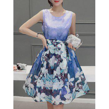 Sweet Women's Scoop Neck Sleeveless Floral Print Pleated Dress