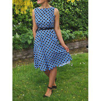 Vintage Women's Boat Neck Polka Dot Print Sleeveless Dress