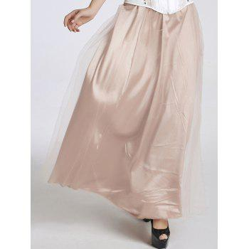 Stylish Women's High Waisted Tulle Maxi Skirt - PINK M