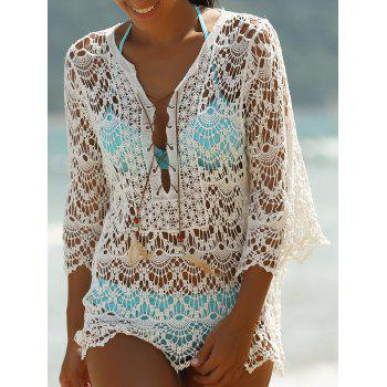 Lace-Up Crochet Cover-Ups Swimwear