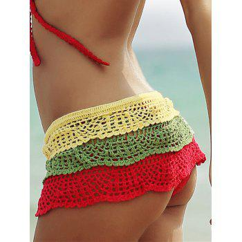 Layered Color Block Skirted Crochet Bathing Suit Bottom - COLORFUL S