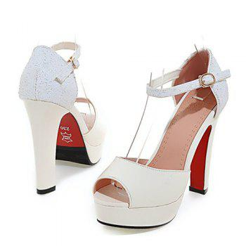 Graceful Sequins and Chunky Heel Design Women's Peep Toe Shoes - WHITE WHITE