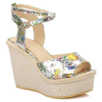 Elegant Color Block and Wedge Heel Design Women's Sandals