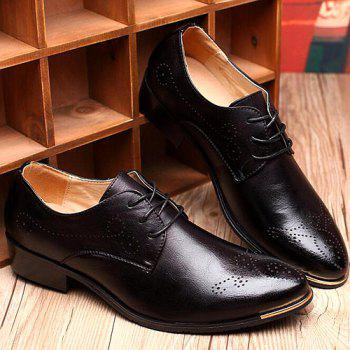 Vintage Pointed Toe and Engraving Design Men's Formal Shoes - BLACK 40