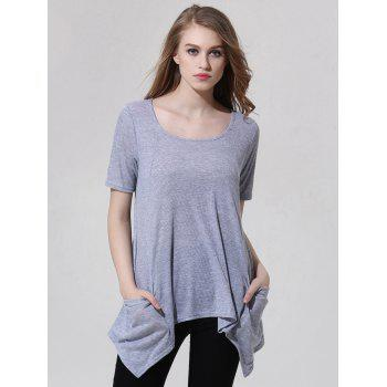 Fashionable Scoop Neck Asymmetric Gray T-Shirt For Women - GRAY L