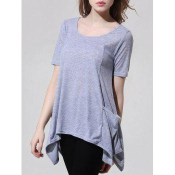 Fashionable Scoop Neck Asymmetric Gray T-Shirt For Women
