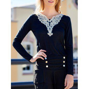 V-Neck Lacework Splicing Fashionable Long Sleeve T-Shirt For Women