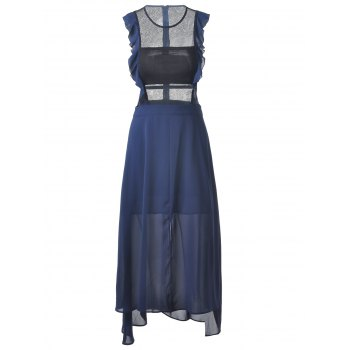 Fashionable Women's Fitted Scoop Neck Midi Calf Dress