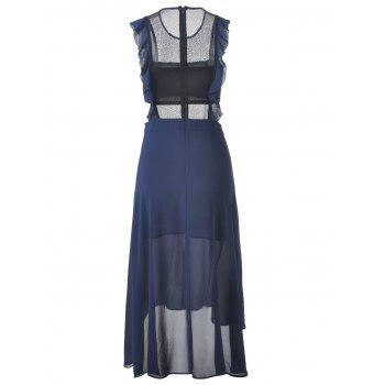 Fashionable Women's Fitted Scoop Neck Midi Calf Dress - DEEP BLUE L
