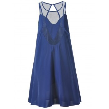 Fashionable Women's Loose-Fitting Scoop Neck Mini Dress - DEEP BLUE L