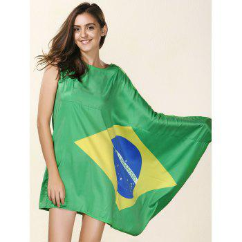 Novelty Round Neck Asymmetrical Brazil Flag Print Women's Dress - GREEN M