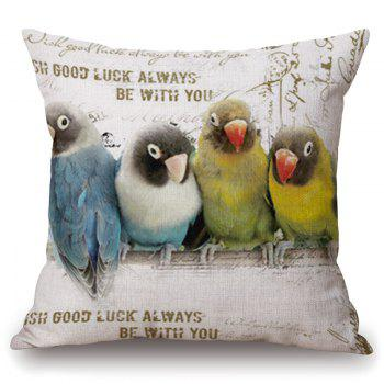 Vintage Four Parrots Pattern Square Shape Flax Pillowcase (Without Pillow Inner)