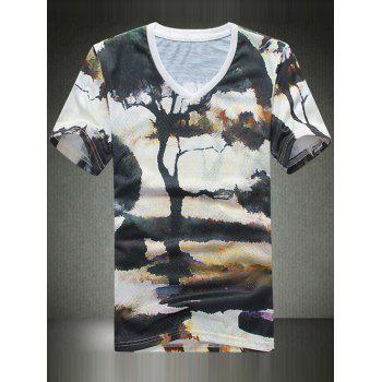 V Neck 3D Tree Printing T Shirt For Men