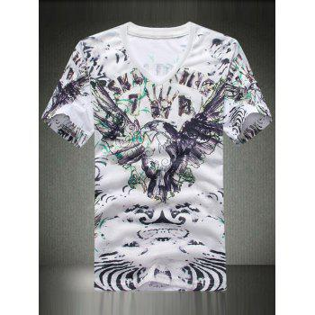 V Neck Letter Printing T Shirt For Men