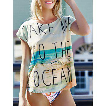Casual Scoop Neck Beach Print Women's Short Sleeve T-Shirt