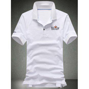 Plus Size Letters Applique Turn-Down Collar Short Sleeve Men's Polo T-Shirt