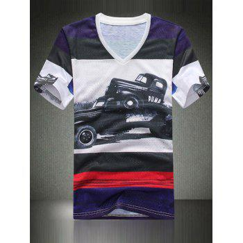 3D Car Print Color Block Spliced V-Neck Holes Design Short Sleeve Men's T-Shirt