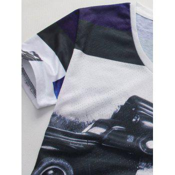 3D Car Print Color Block Spliced V-Neck Holes Design Short Sleeve Men's T-Shirt - COLORMIX 2XL