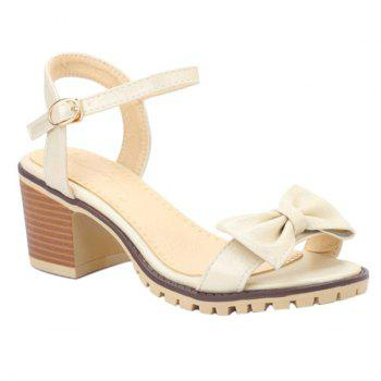 Concise Bowknot and Chunky Heel Design Women's Sandals