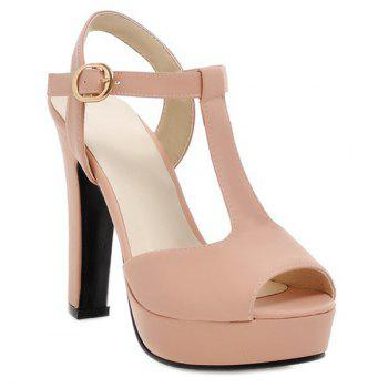 Fashionable T-Strap and Peep Toe Design Women's Sandals