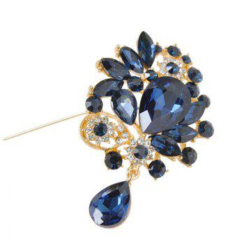 Faux Crystal Rhinestone Water Drop Brooch