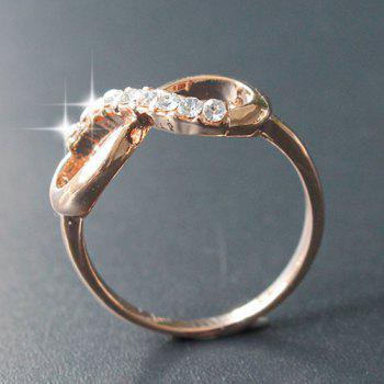 One Piece Rhinestone Infinity Alloy Ring - ROSE GOLD