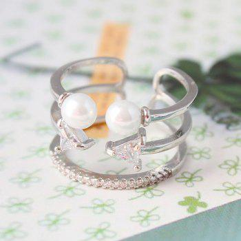 Triangle Multilayer Faux Pearl Opening Ring - SILVER ONE-SIZE
