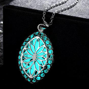 Hollow Out Flower Carve Luminescent Faux Gem Necklace