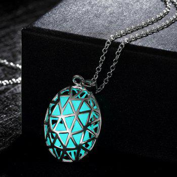Hollow Out Oval Triangle Carve Luminescent Faux Gem Necklace