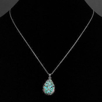 Hollowed Luminous Water Drop Faux Gem Necklace - CYAN
