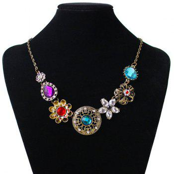 Flower Round Water Drop Shape Faux Gem Necklace