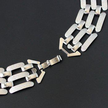 Hollowed Frosted Rectangle Necklace - SILVER
