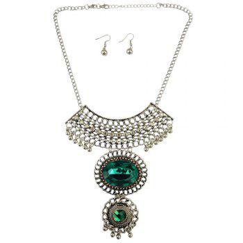 A Suit of Faux Gem Necklace and Earrings